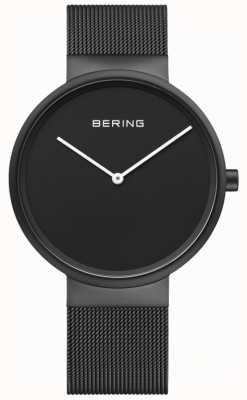 Bering Mostrador preto clássico masculino preto ip revestido de malha pulseira 14539-122