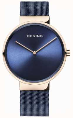 Bering Mostrador azul clássico subiu caso de ouro azul ip pulseira de malha 14539-367