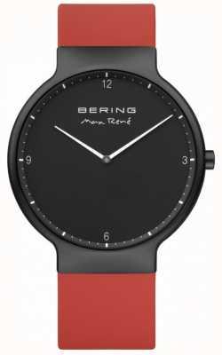 Bering Max rené preto ip plated case alça de silicone vermelho 15540-523