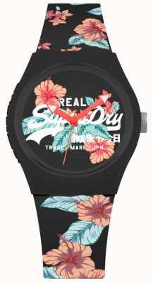 Superdry Correia de silicone de impressão floral preta urbana feminina SYL160BO