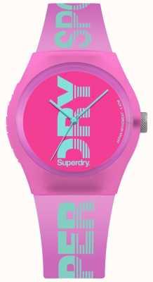 Superdry Cópia ciana do logotipo do caso cor-de-rosa urbano das mulheres SYL189PN