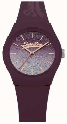 Superdry Caixa de silicone roxa e pulseira de discagem glitter feminino SYL179R
