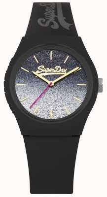 Superdry Caixa de silicone preta e pulseira de discagem glitter feminino SYL179B