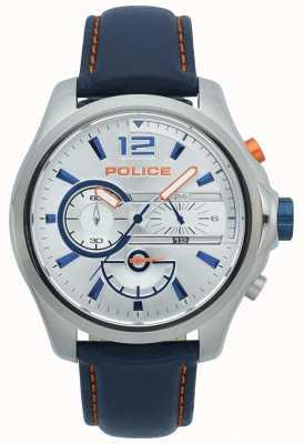 Police Cronógrafo masculino em denver em aço inoxidável, pulseira de couro 15403JS/04