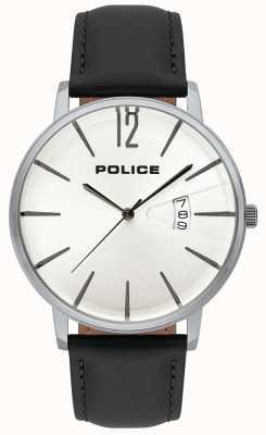 Police Data de virtude dos homens exibir mostrador branco pulseira de couro preto 15307JS/01