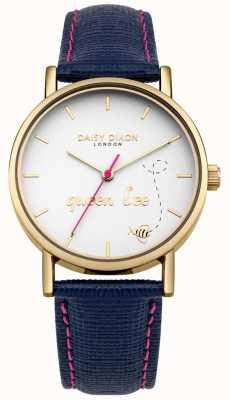 Daisy Dixon Correia de couro azul slogan impressão dial pulseira de couro azul DD079UG