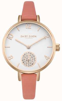 Daisy Dixon Conjunto de cristal alice feminino pulseira de couro rosa subdial DD0750RG