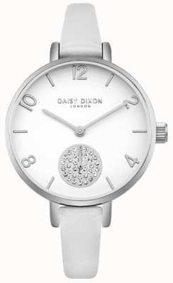 Daisy Dixon Conjunto de cristal de alice feminino pulseira de couro branco subdial DD075WS