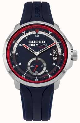 Superdry Mostrador de data masculino mostrador azul pulseira de silicone azul SYG217U