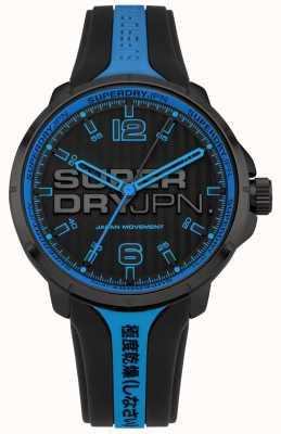 Superdry Correia de silicone preto e azul kyoto masculino SYG216BU