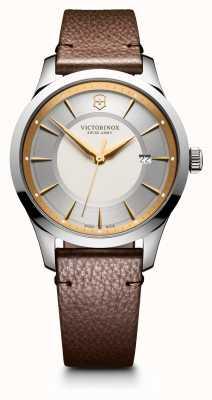 Victorinox Swiss Army Aliança grande 40 milímetros prata mostrador dois tom pulseira de couro marrom 241806