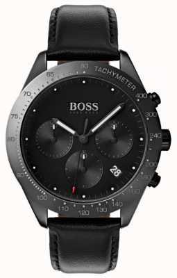 Boss Talent cronógrafo mostrador preto data mostrar couro preto 1513590
