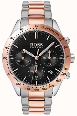 Boss Talento dos homens | pulseira de aço inoxidável ouro rosa e prata | 1513584