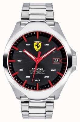 Scuderia Ferrari Aero data dos homens exibir pulseira de aço inoxidável mostrador preto 0830507