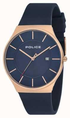 Police Mens novo relógio horizonte pulseira de silicone azul 15045JBCR/03P