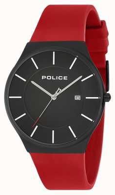 Police Mens novo horizonte relógio pulseira de silicone vermelho 15045JBCB/02PB
