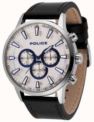 Police Mens momentum cronógrafo relógio pulseira de couro preto 15000JS/04