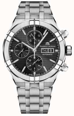 Maurice Lacroix Aikon cronógrafo automático em aço inoxidável relógio com mostrador preto AI6038-SS002-330-1
