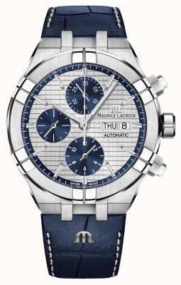 Maurice Lacroix Aikon relógio de pulseira de couro azul cronógrafo automático AI6038-SS001-131-1