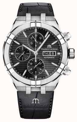 Maurice Lacroix Aikon relógio de pulseira de couro preto cronógrafo automático AI6038-SS001-330-1