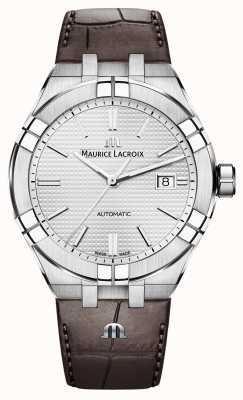 Maurice Lacroix Relógio de couro marrom automático Aikon AI6008-SS001-130-1