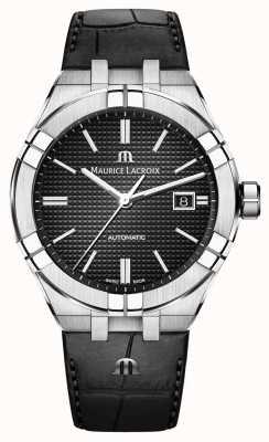 Maurice Lacroix Aikon mostrador preto automático relógio de couro preto AI6008-SS001-330-1