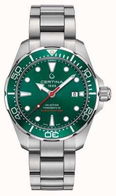 Certina Ds ação powermatic verde dial / bezel relógio de aço inoxidável C0324071109100