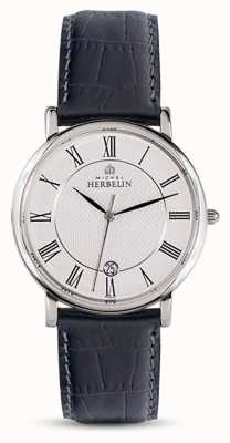 Michel Herbelin Mens pulseira de couro preto clássico mostrador branco 12248/08