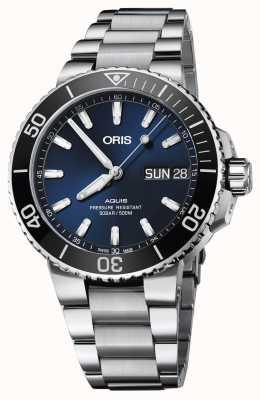 Oris Mens aquisição grande dia data azul pulseira de metal de discagem 01 752 7733 4135-07 8 24 05PEB