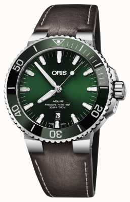 Oris Mens aquisição data verde mostrador preto marrom cinta 01 733 7730 4157-07 5 24 10EB