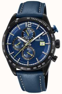 Festina Mens esporte cronógrafo pulseira de couro azul azul discagem F20344/2