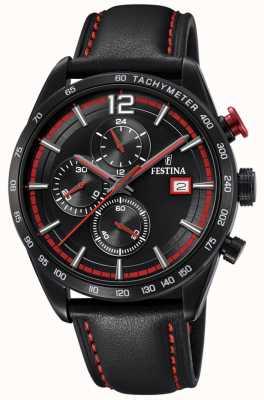 Festina Relógio masculino com pulseira de couro preta cronógrafo e mostrador preto F20344/5