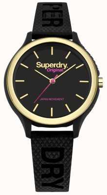 Superdry Bracelete de silicone preto Sapporo fluoro pop SYL151BG