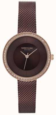 Kenneth Cole Relógio de malha marrom marrom diamante de discagem conjunto das mulheres KC50198003
