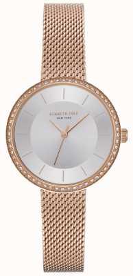 Kenneth Cole Relógio de malha de ouro rosa para mulher KC50198004