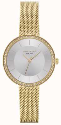 Kenneth Cole Womens diamond set relógio de malha de ouro KC50198005