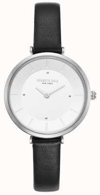 Kenneth Cole Womens diamond set caixa de aço inoxidável relógio de couro marrom KC50306003