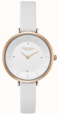 Kenneth Cole Conjunto de diamantes das mulheres subiu caixa de ouro relógio de couro branco KC50306004