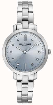 Kenneth Cole Caso de aço inoxidável de diamantes de mulheres e pulseira de relógio KC15173004