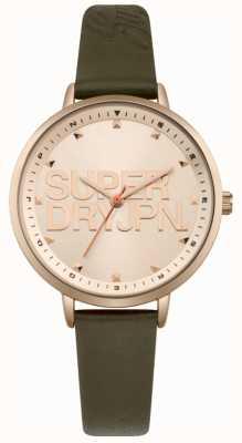 Superdry Womens ascot luxe pulseira de couro verde subiu mostrador de ouro SYL157NRG