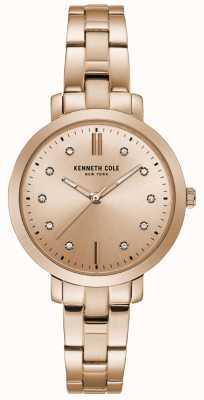 Kenneth Cole Conjunto de diamantes das mulheres subiu caixa de ouro rosa pulseira de ouro relógio KC15173005