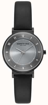Kenneth Cole Relógio de pulseira de couro preto de discagem clássico cinza das mulheres KC50075001
