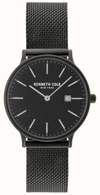 Kenneth Cole Caso preto das mulheres e discagem com exibição de data e malha preta KC15057004