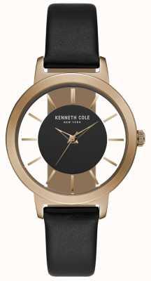 Kenneth Cole Caixa em ouro rosa para mulher com bracelete de couro preto KC15172004