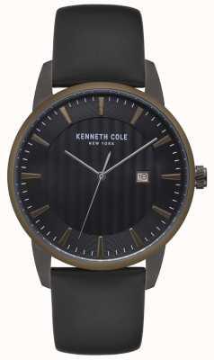 Kenneth Cole Mens caixa de aço inoxidável azul moldura preta relógio de couro KC15204005