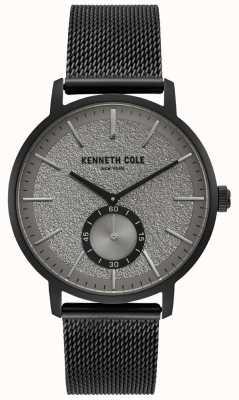 Kenneth Cole Mens preto caso cinza relógio subdial com pulseira de malha preta KC50055001