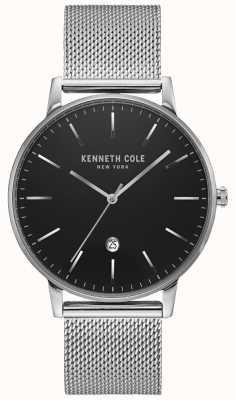 Kenneth Cole Relógio clássico em malha de aço inoxidável prateado e tom preto KC50009004