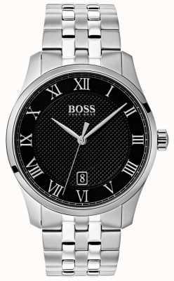 Boss Mens master de aço inoxidável relógio com mostrador preto 1513588