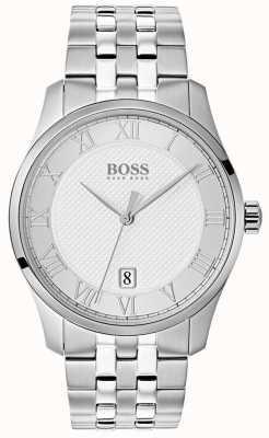 Hugo Boss Mens master de aço inoxidável relógio com mostrador prateado 1513589