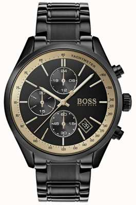 BOSS Grand prix preto para homem ip / gold accent watch 1513578